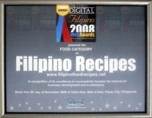 The award plaque given to the Filipino Recipes website